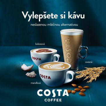 Kokosové, mandlové nebo ovesné mléko v Costa Coffee